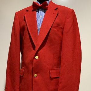 Red STAFFORD blazer jacket gold buttons